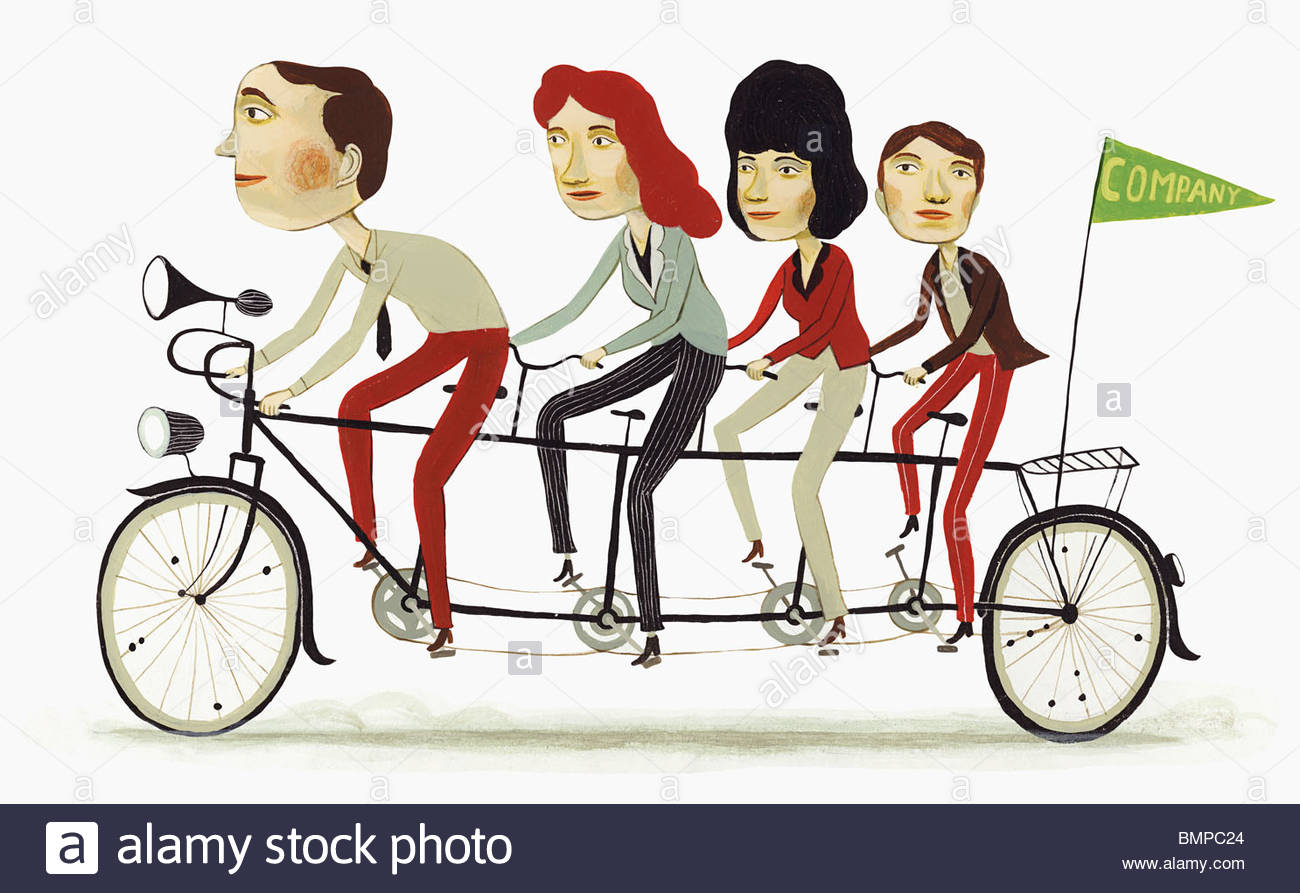 Co-workers on tandem bicycle - Stock Image
