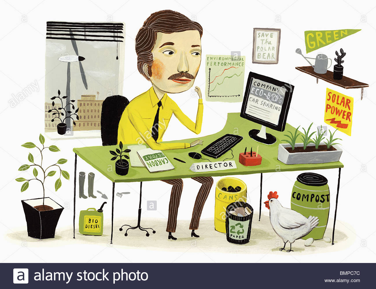 Eco-friendly businessman working in office - Stock Image