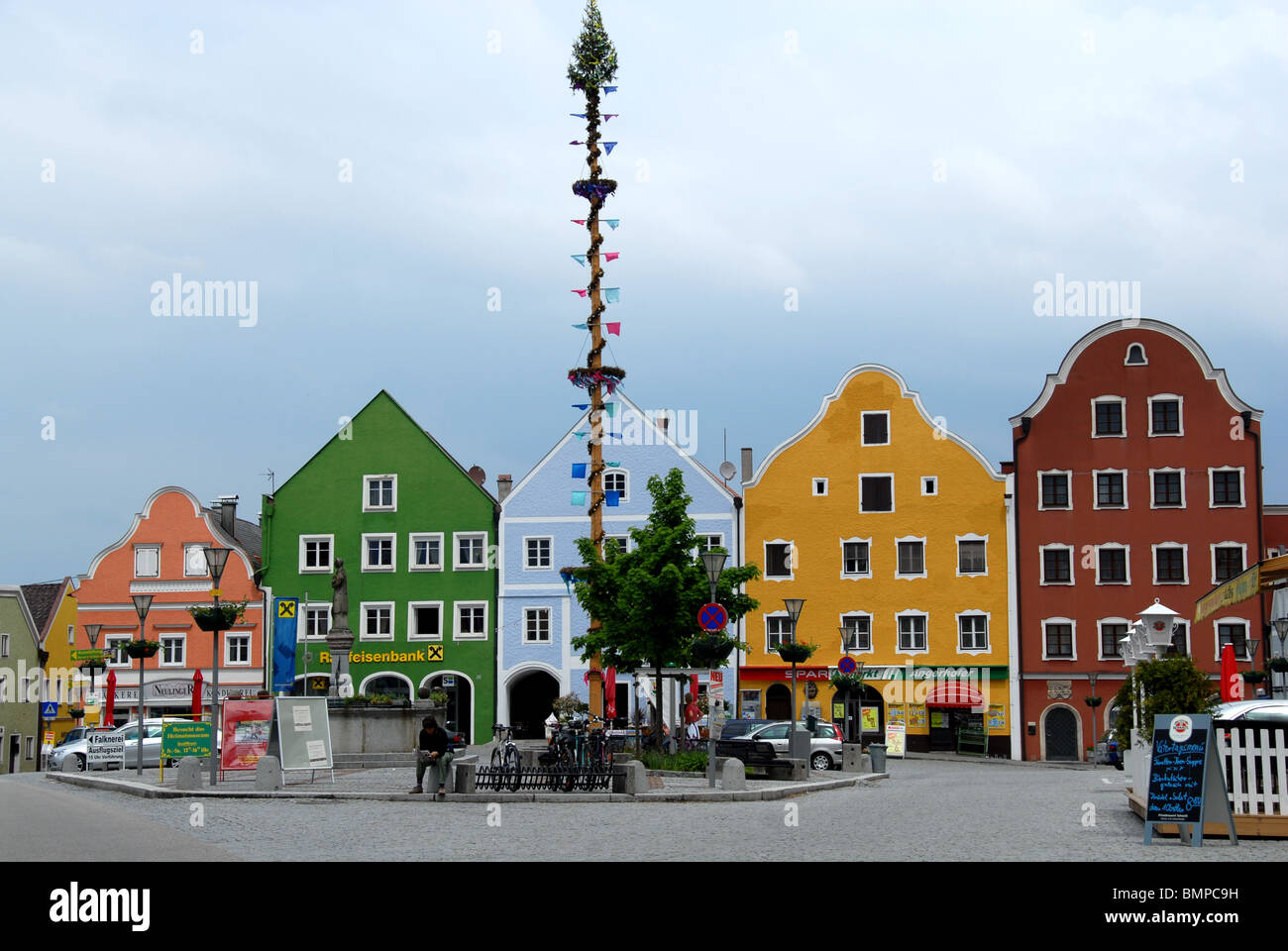 Town Oberndorf on the Inn River, Austriamaibaum - Stock Image