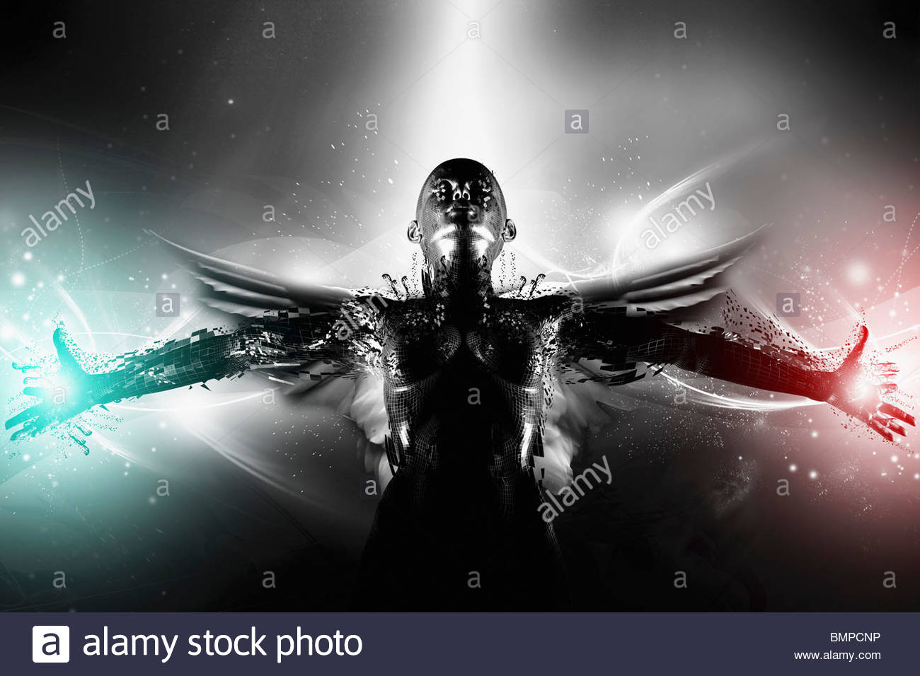 Hero angel with arms outstretched - Stock Image