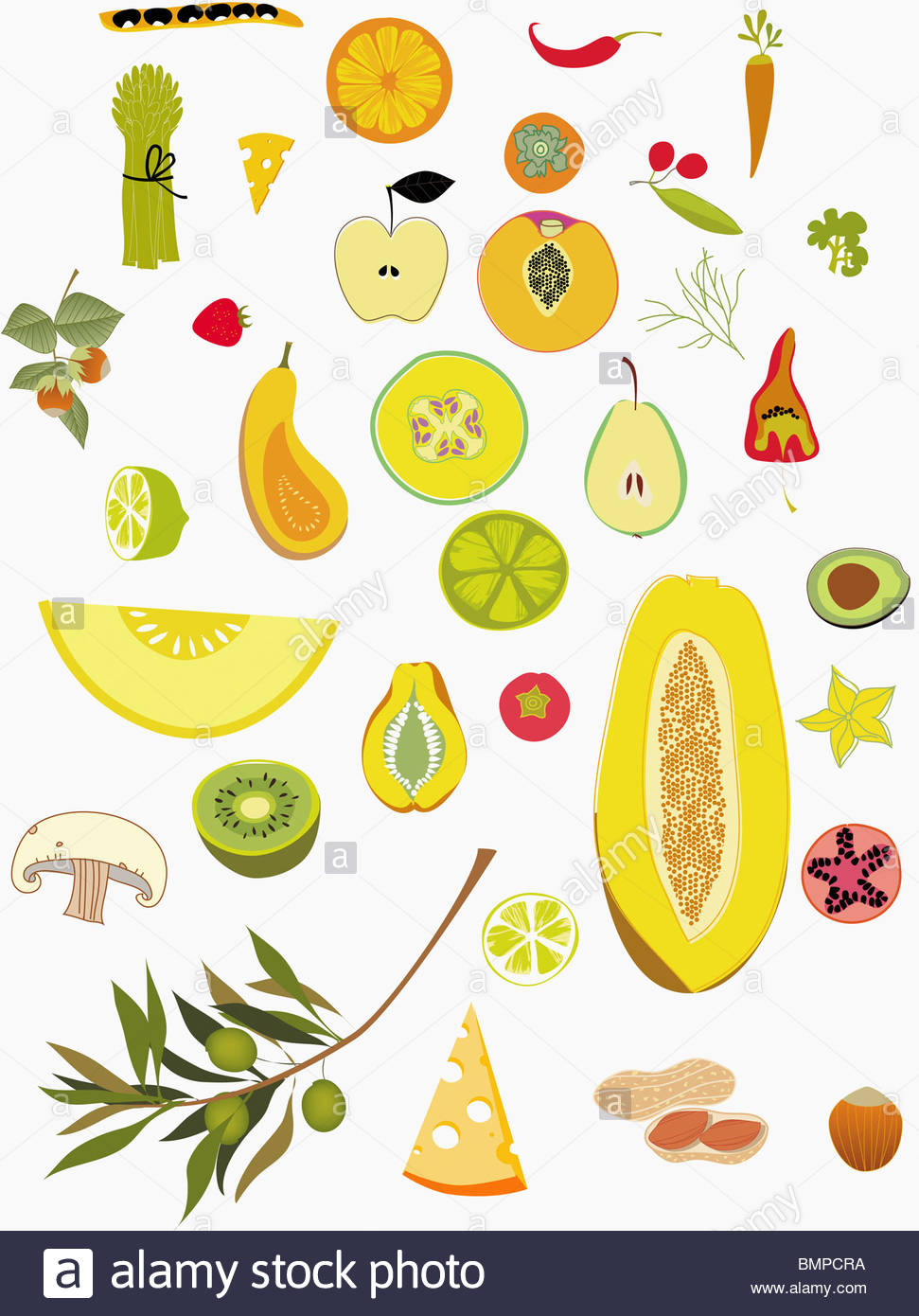 Variety of fruits and vegetables - Stock Image