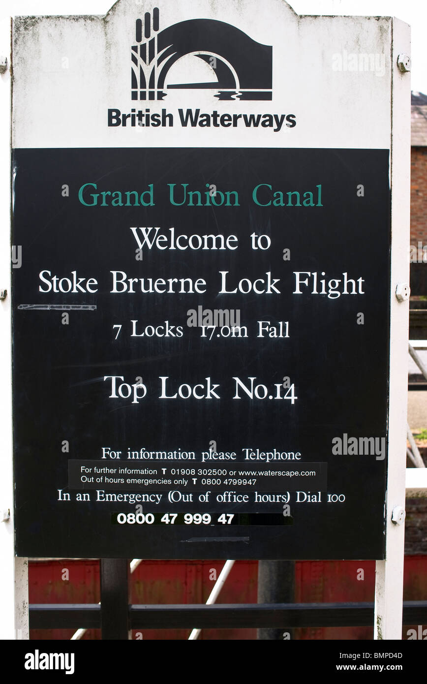 Sign at Stoke Bruerne Grand Union Canal - Stock Image