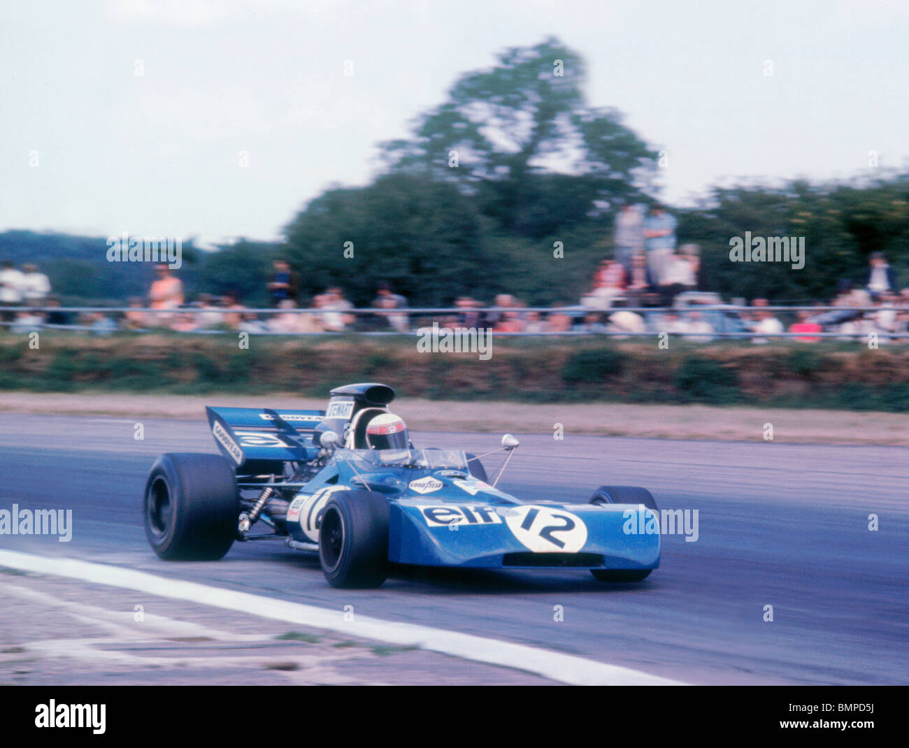 Tyrrell 003 driven by Jackie Stewart at the 1971 British Grand Prix, Silverstone. - Stock Image