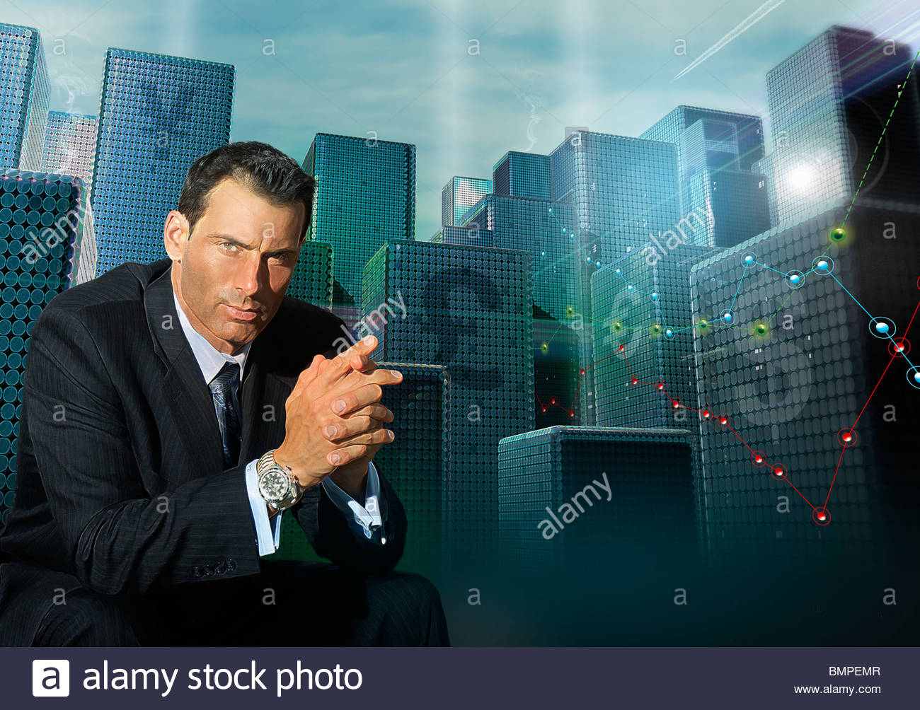 Money symbols on highrise buildings behind businessman - Stock Image