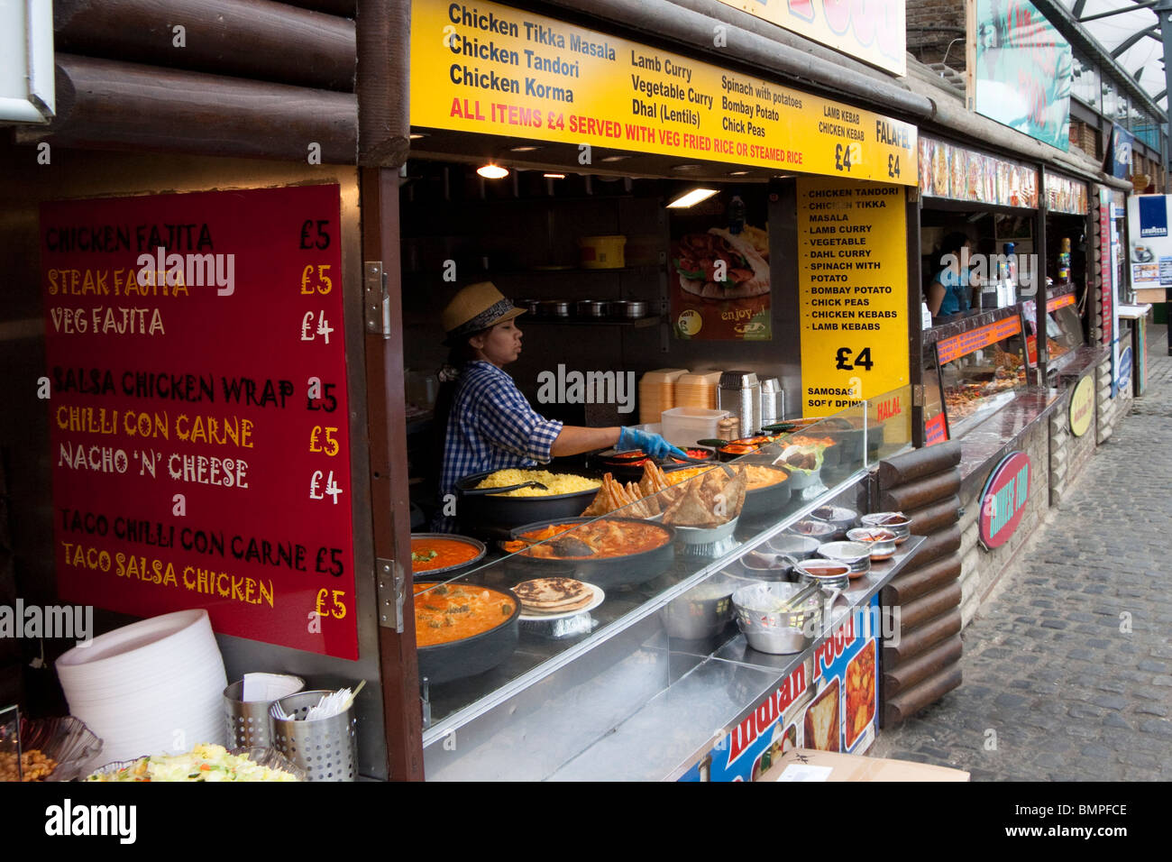 The Stables Market food stalls, Camden, London, England, UK - Stock Image