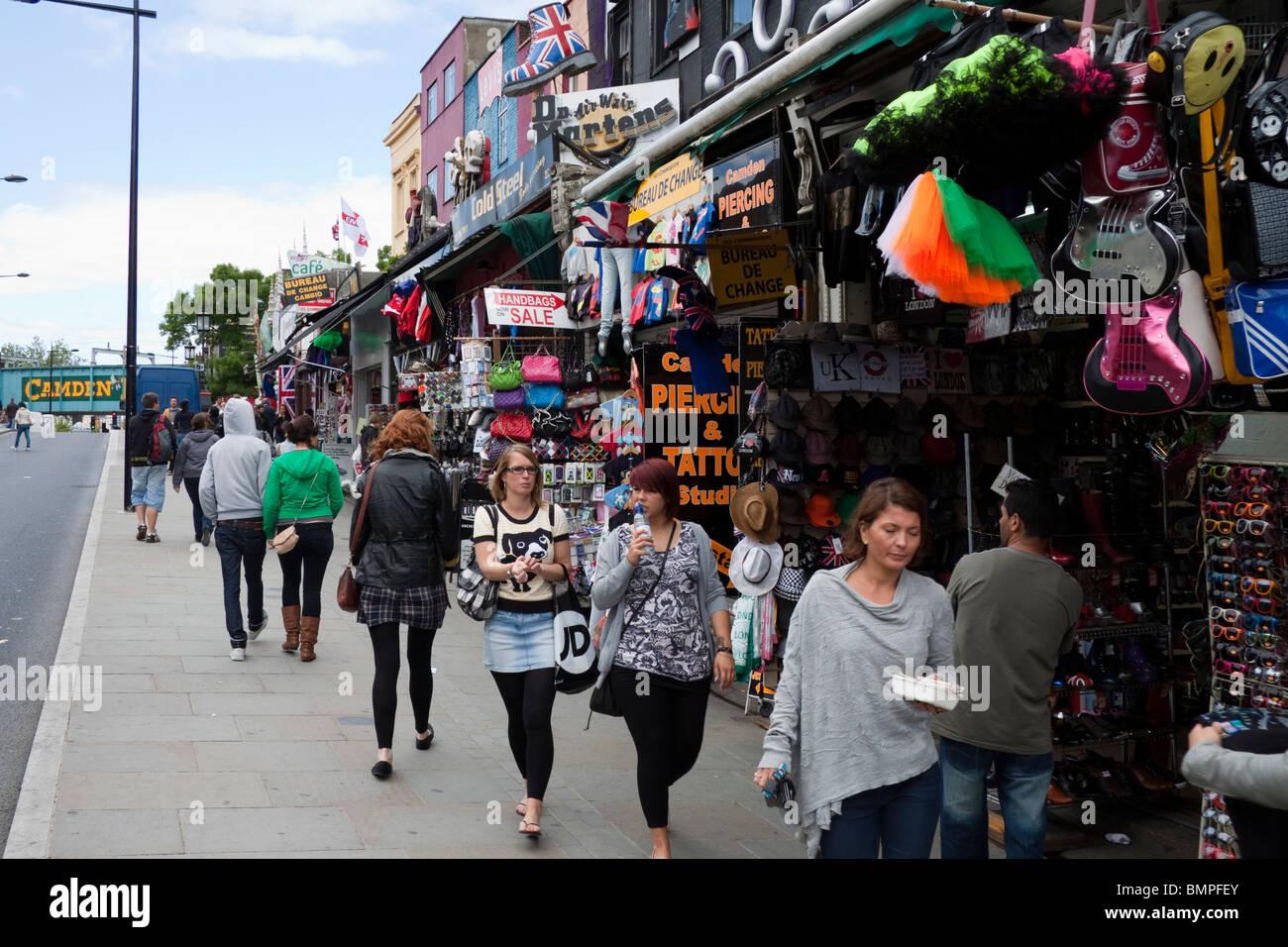 People walking along Camden High Street, London, England, UK - Stock Image