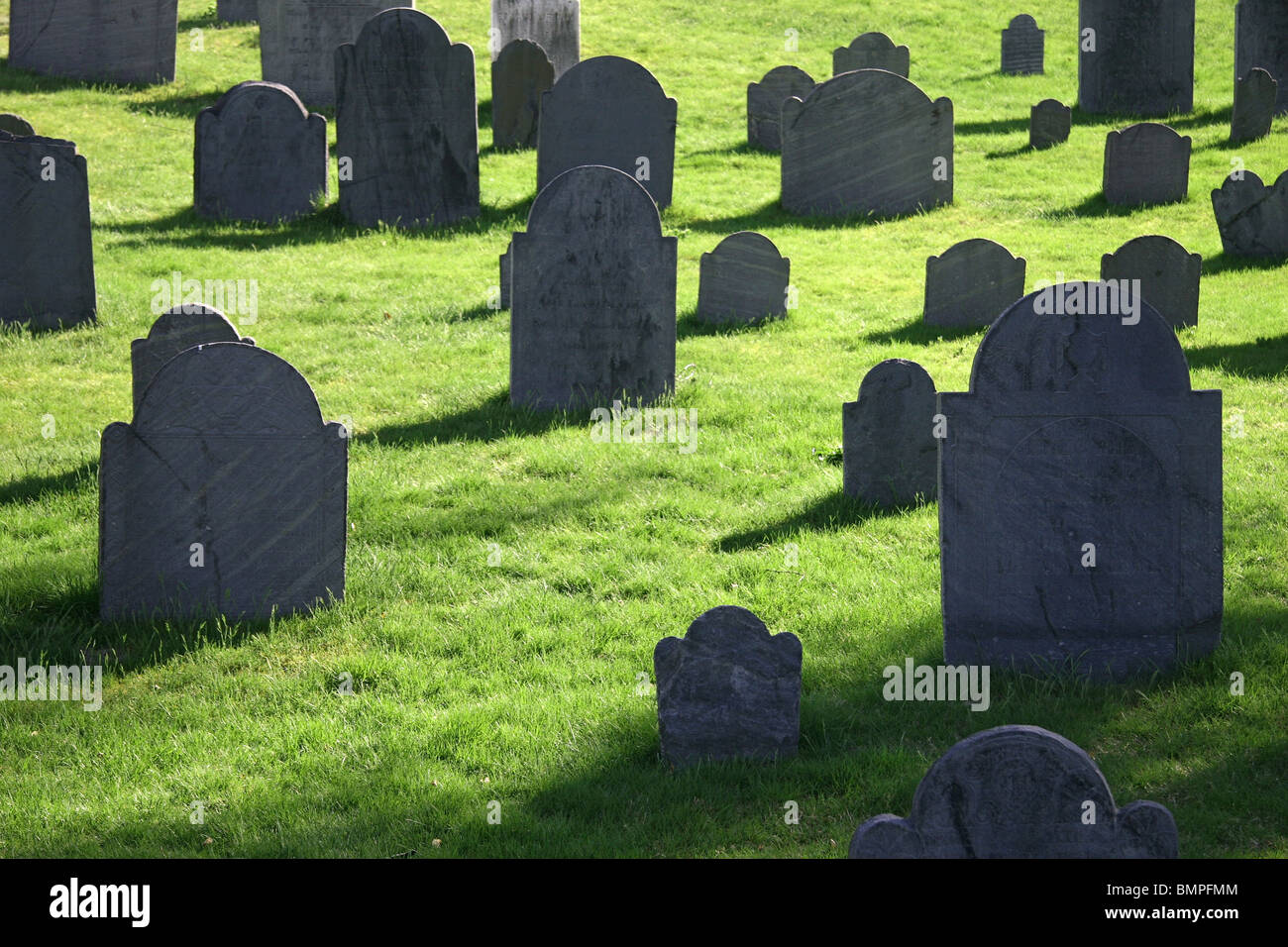 Early 18th century colonial graveyard in Concord, Massachusetts, USA. - Stock Image