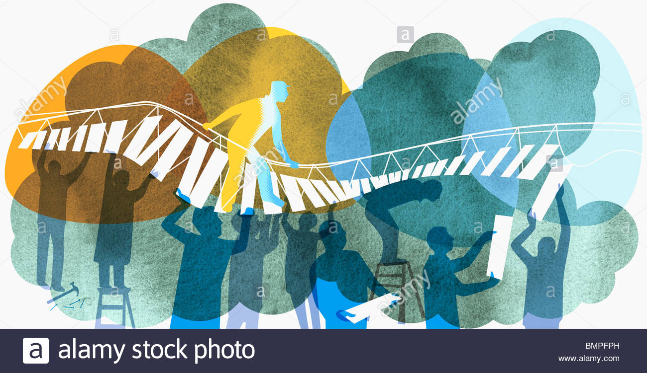 Man walking on bridge supported by co-workers below - Stock Image