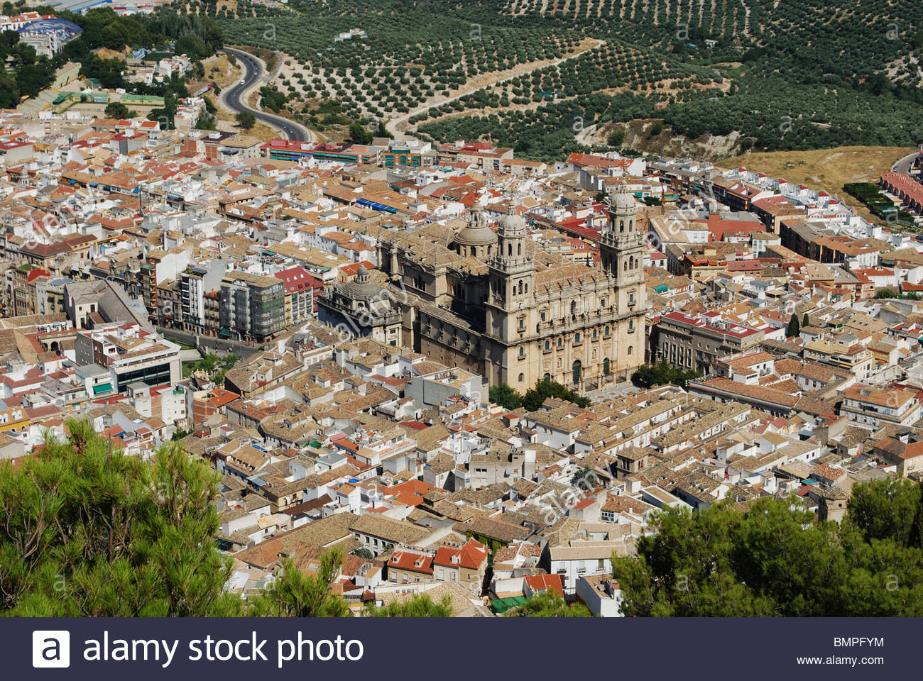 Cathedral with views over the surrounding city rooftops, Jaen, Jaen Province, Andalucia, Spain, Western Europe. - Stock Image