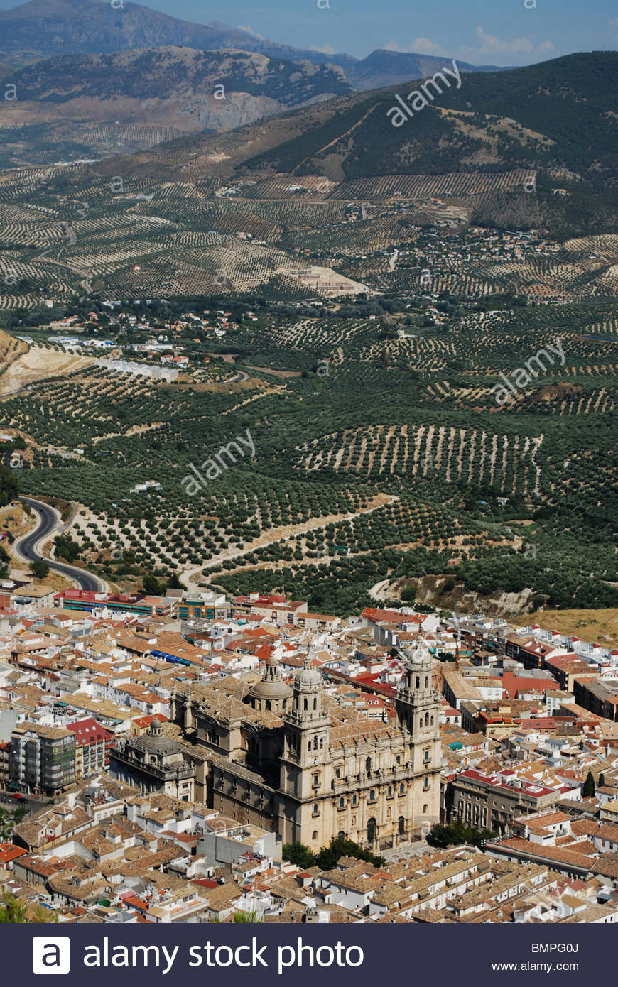 Cathedral with views over the surrounding city rooftops, Jaen, Jaen Province, Andalucia, Spain, Western Europe. Stock Photo