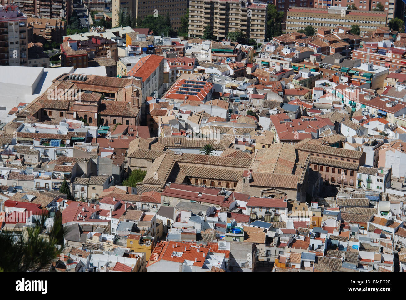 View over city rooftops, Jaen, Jaen Province, Andalucia, Spain, Western Europe. - Stock Image