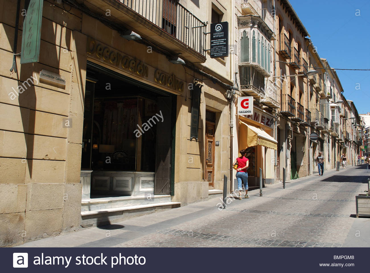 Old town shopping street, Ubeda, Jaen Province, Andalucia, Spain, Western Europe. Stock Photo