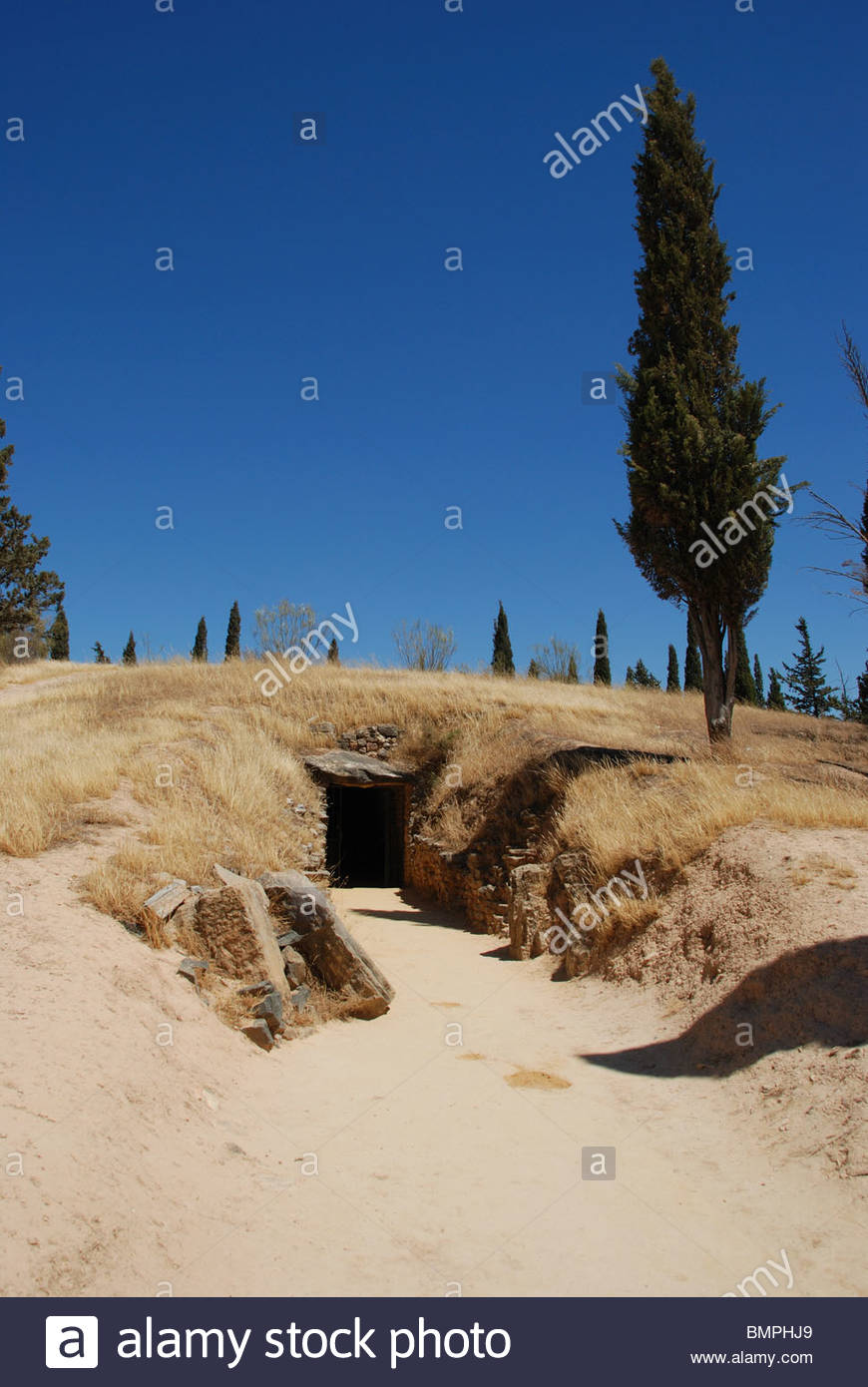 Entrance to the Dolmen de Romeral, The Dolmens, Antequera, Malaga Province, Andalucia, Spain, Western Europe. - Stock Image