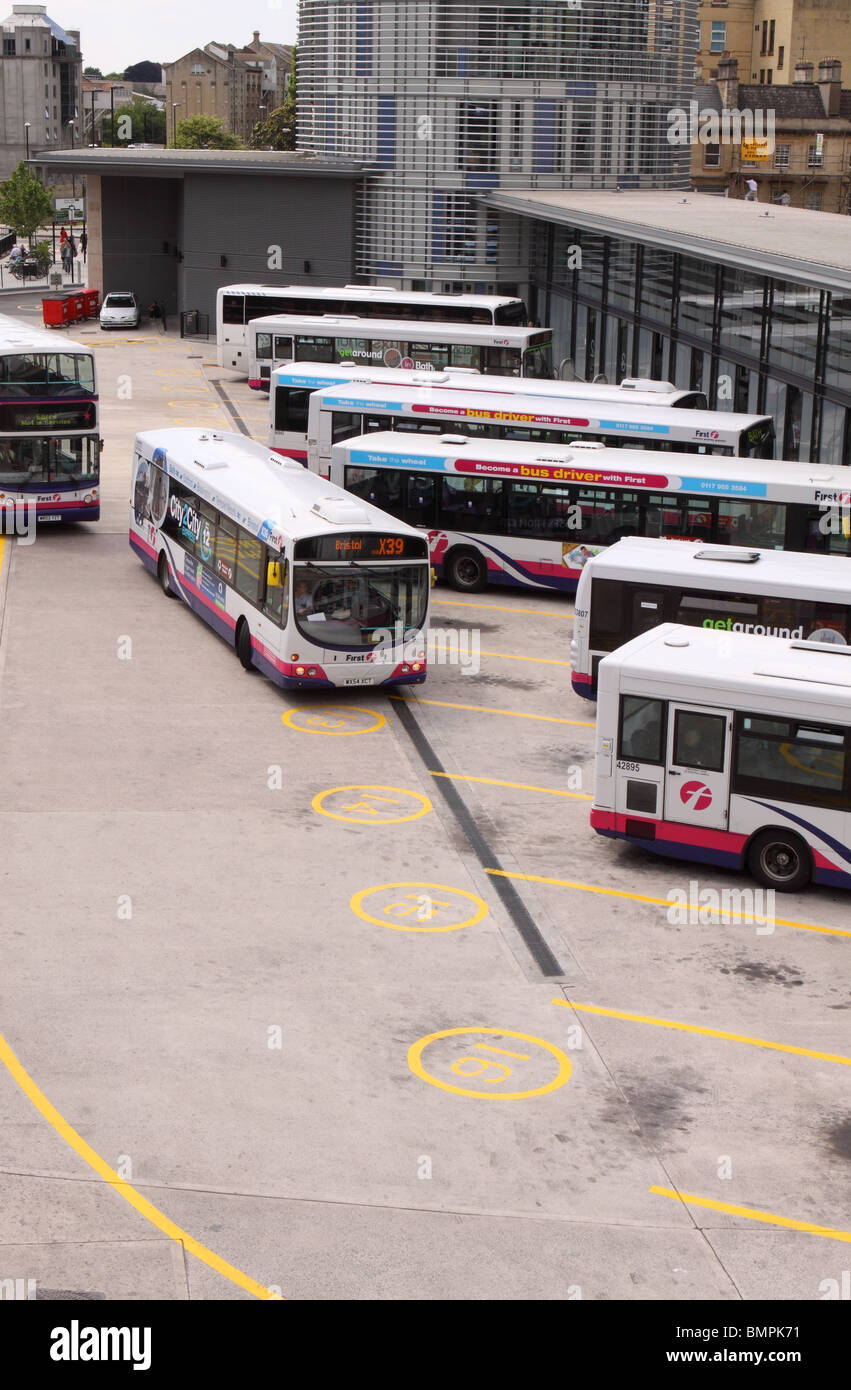 Bath new modern city bus station with First Group operated buses - Stock Image