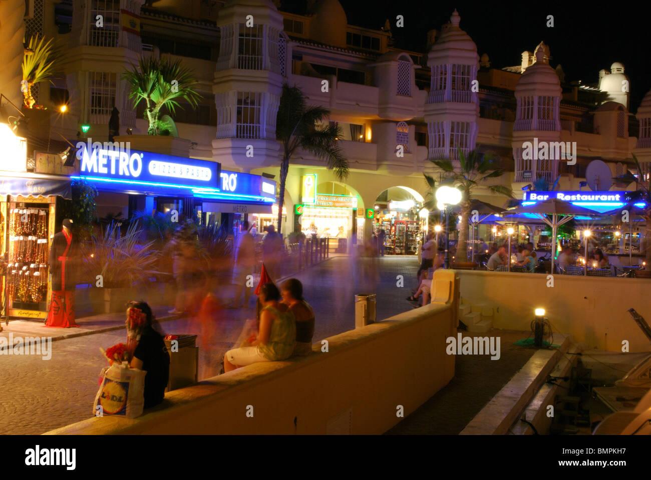 Bars And Restaurants In The Marina Area At Night Benalmadena Costa