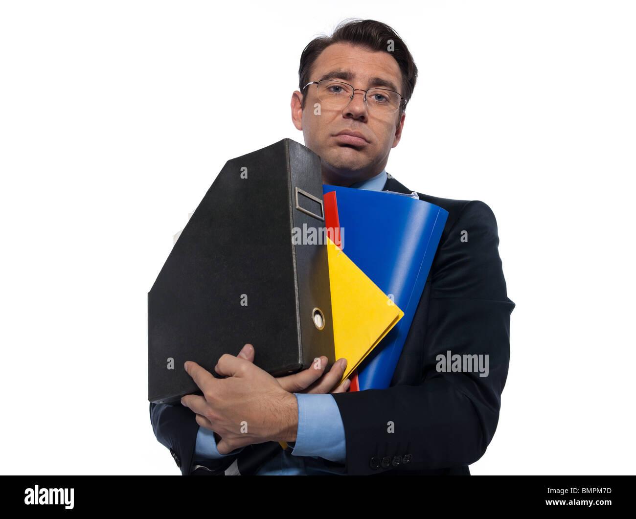 man businessman holding folders bored overload isolated studio on white background - Stock Image
