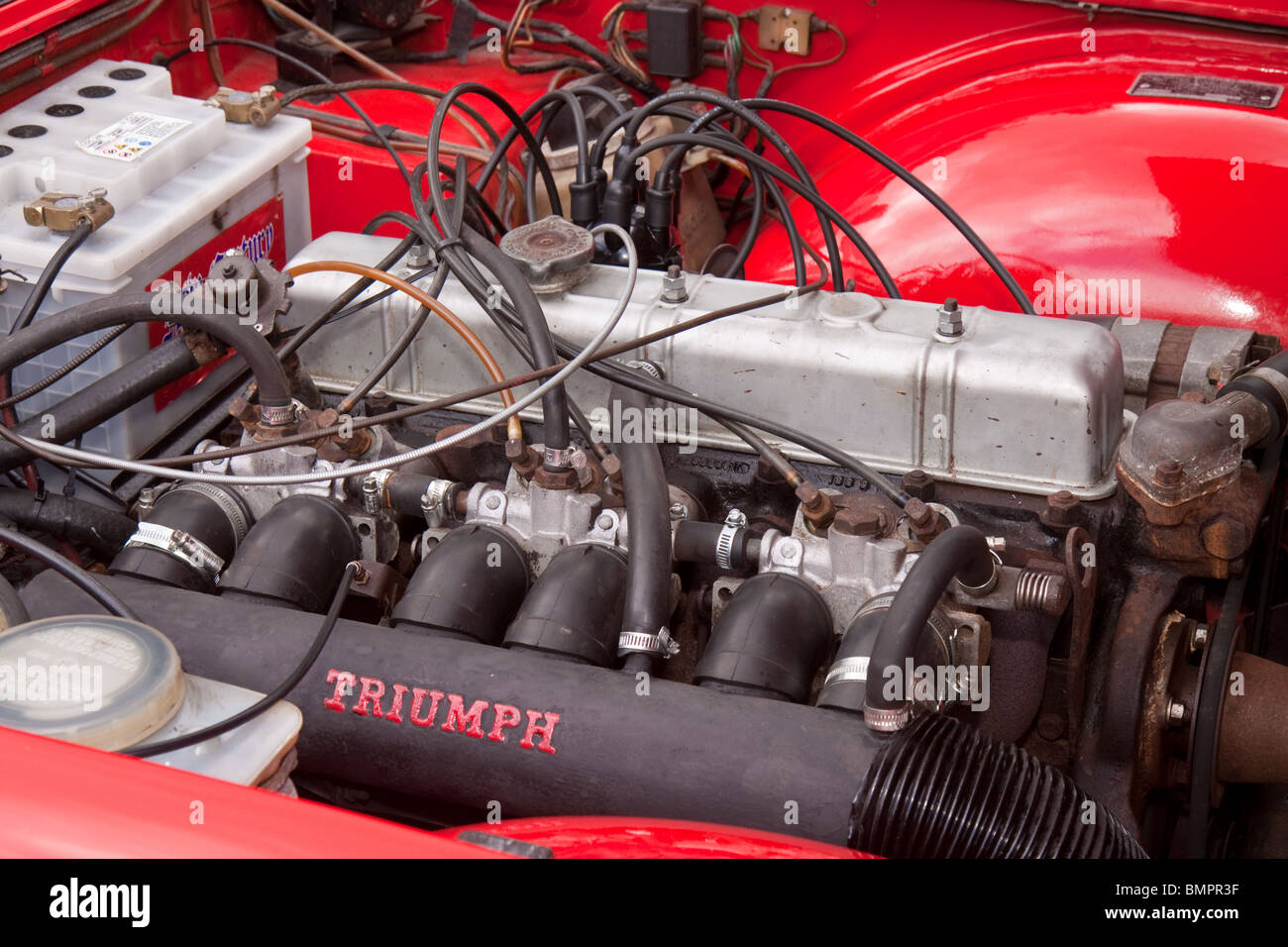 Triumph Tr6 Classic Car Six Cylinder Fuel Injected Engine Stock
