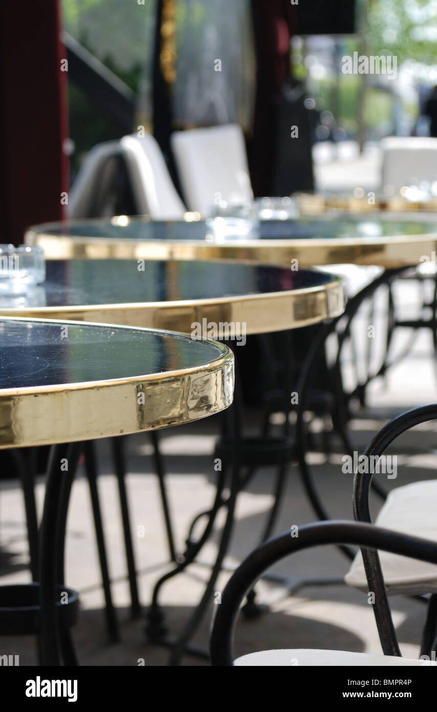 Street Paris Cafe Tables Sunny Morning Shallow DOF Stock Photo - Paris cafe table