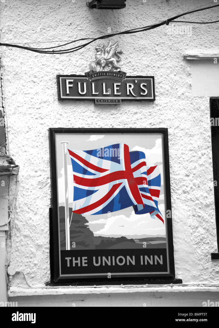 The Union Inn pub sign on wall in Cowes, Isle of Wight - Griffin Brewers Fuller's Chiswick - Stock Image