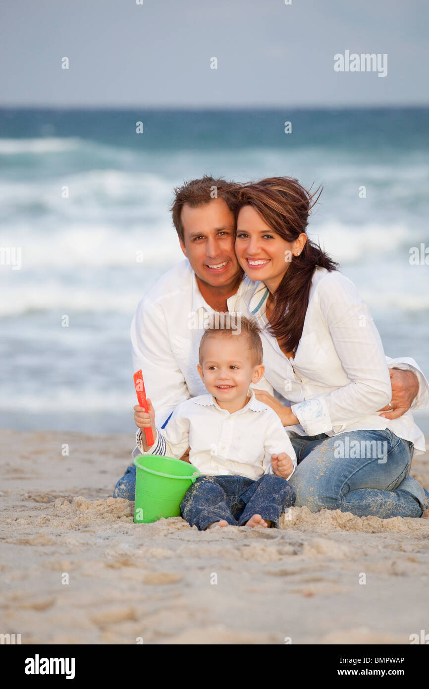 Fort Lauderdale, Florida, United States Of America; A Family On The Beach - Stock Image