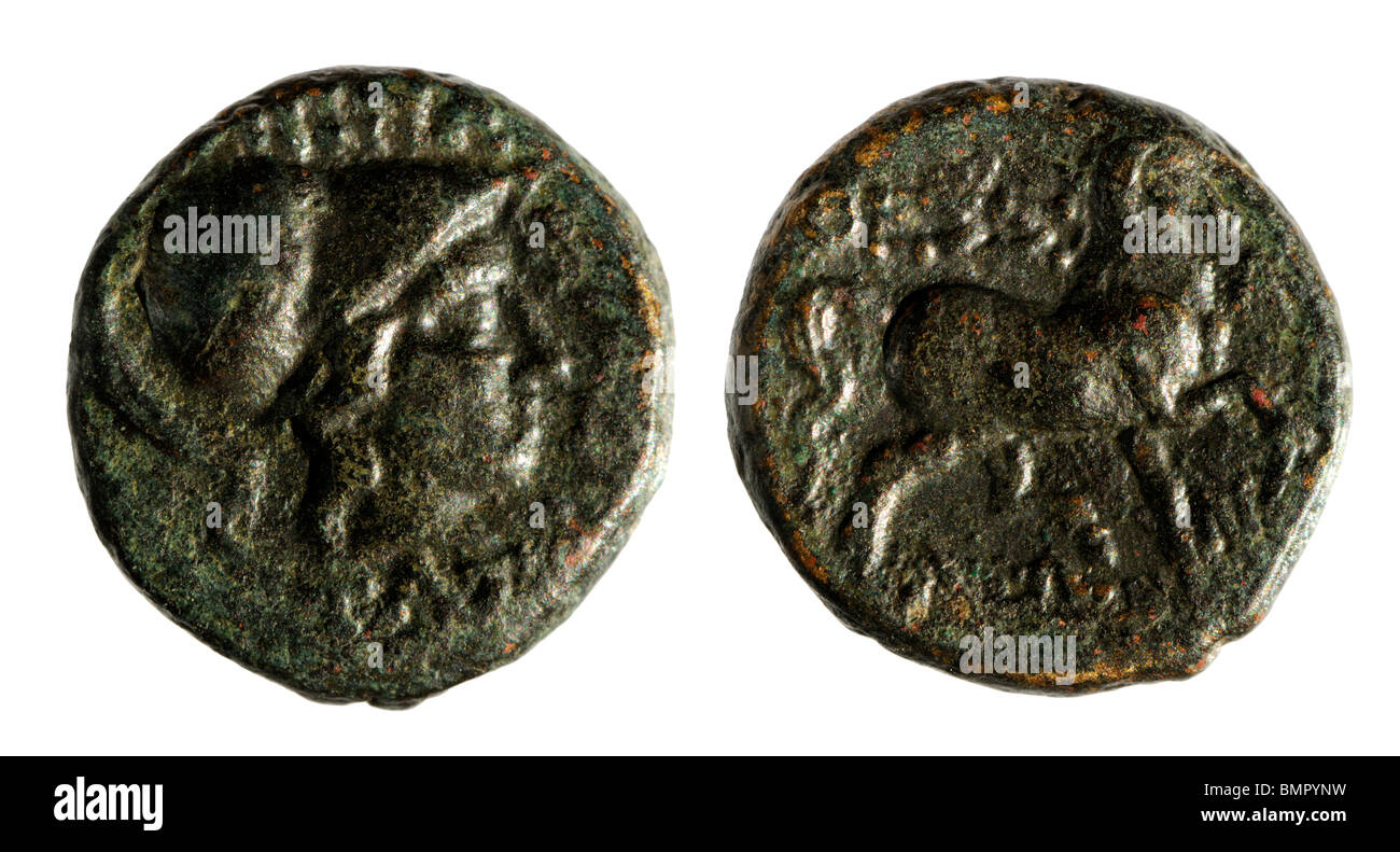 Ancient Greek Coin. Thessalian Confederacy (196-146BC) 16mm - Stock Image