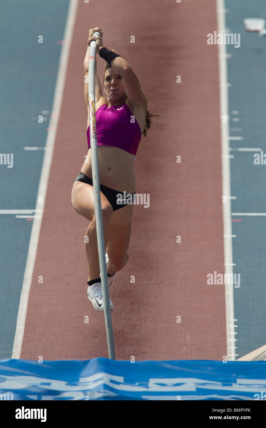 Competitor in the Women's pole vault at the New York Grand Prix, IAAF Diamond League - Stock Image