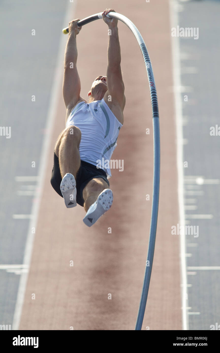 Pole vaulter at the New York Grand Prix, IAAF Diamond League - Stock Image