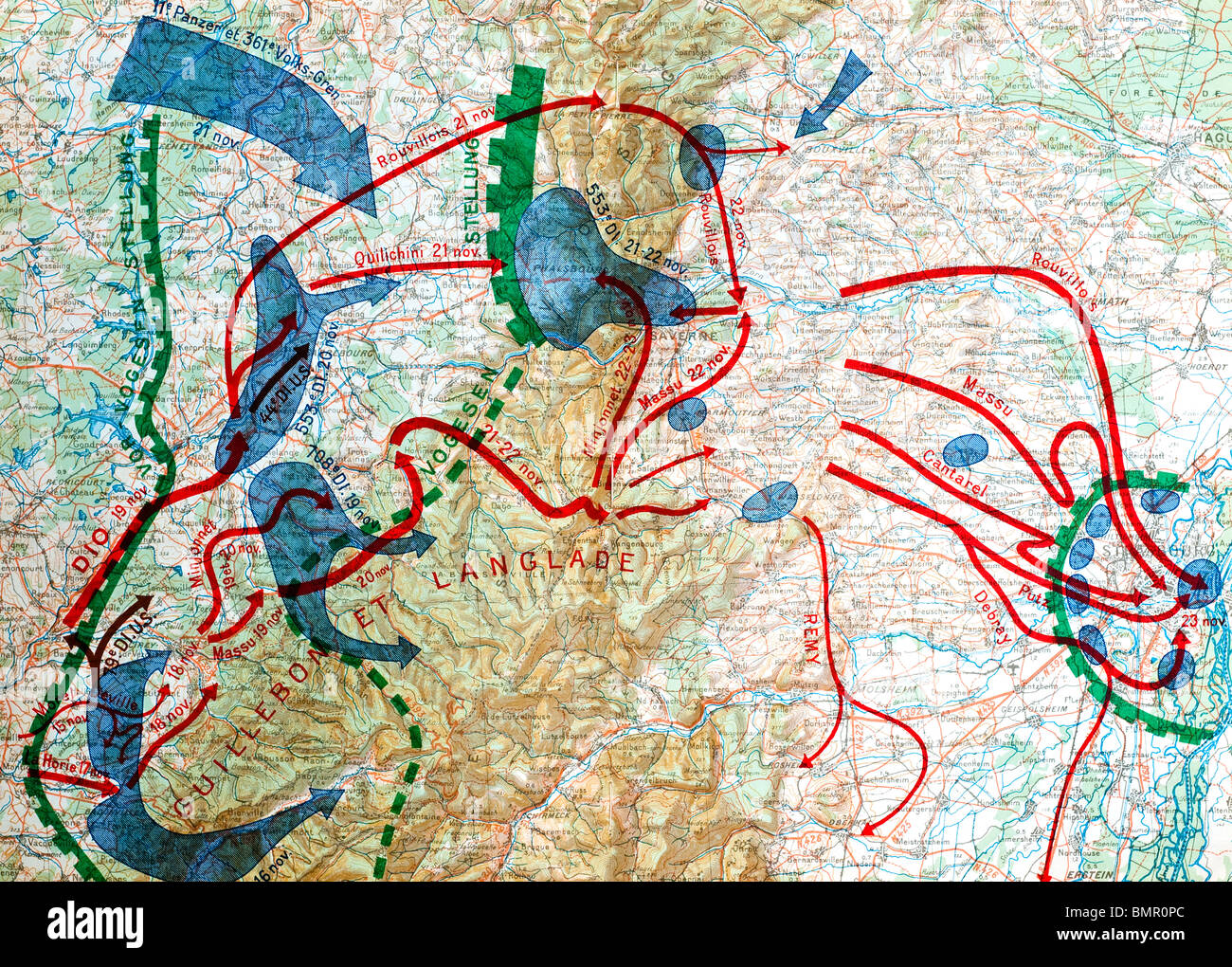 1946 French World War II book map illustration showing Allied army movements around Voges, France and Germany, 1944. - Stock Image