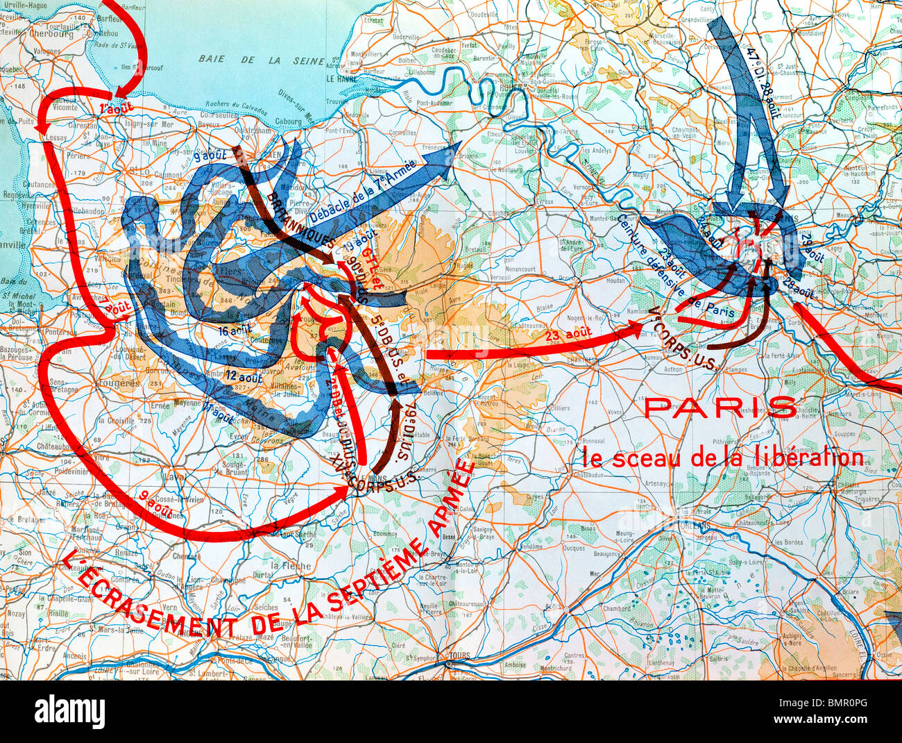 1946 French World War II book map illustration showing Allied army movements from Normandy to Paris, France, 1944. - Stock Image
