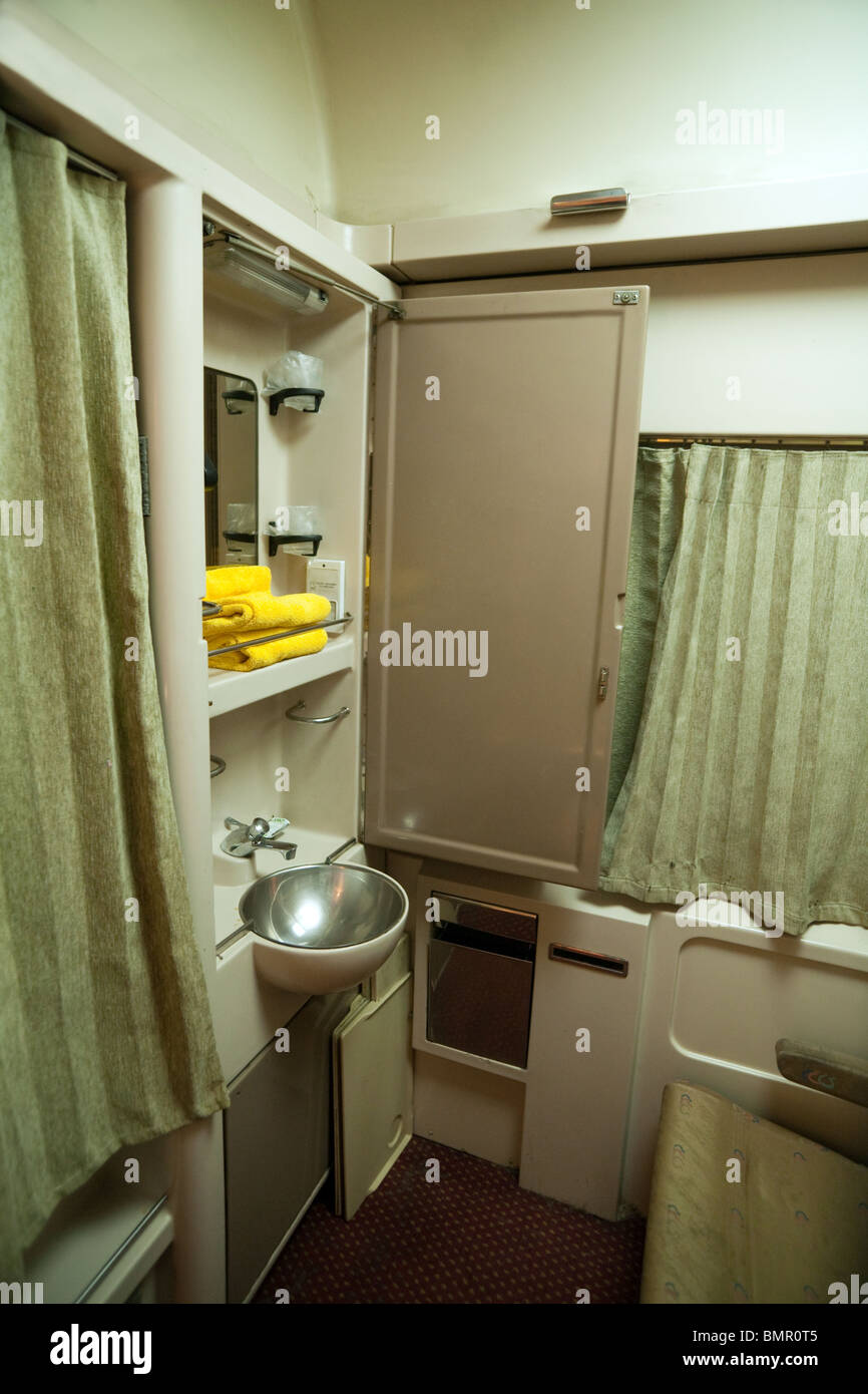 washing facilities in a sleeper carriage, the overnight train from Cairo to Luxor, Egyptian Railways, Egypt - Stock Image