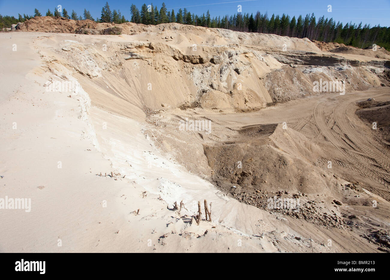 Wall of a gravel pit at a sandy ridge / glacial esker  , Finland - Stock Image