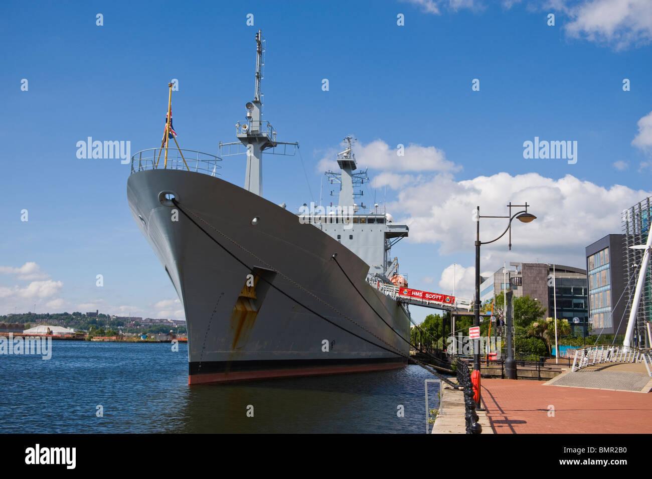 HMS Scott Royal Navy Ocean Survey Vessel moored in Cardiff Bay South Wales UK Stock Photo