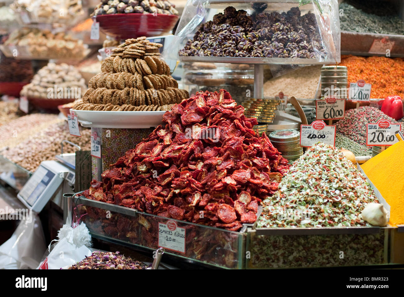 spices at Egyptian Bazaar Istanbul, Turkey - Stock Image
