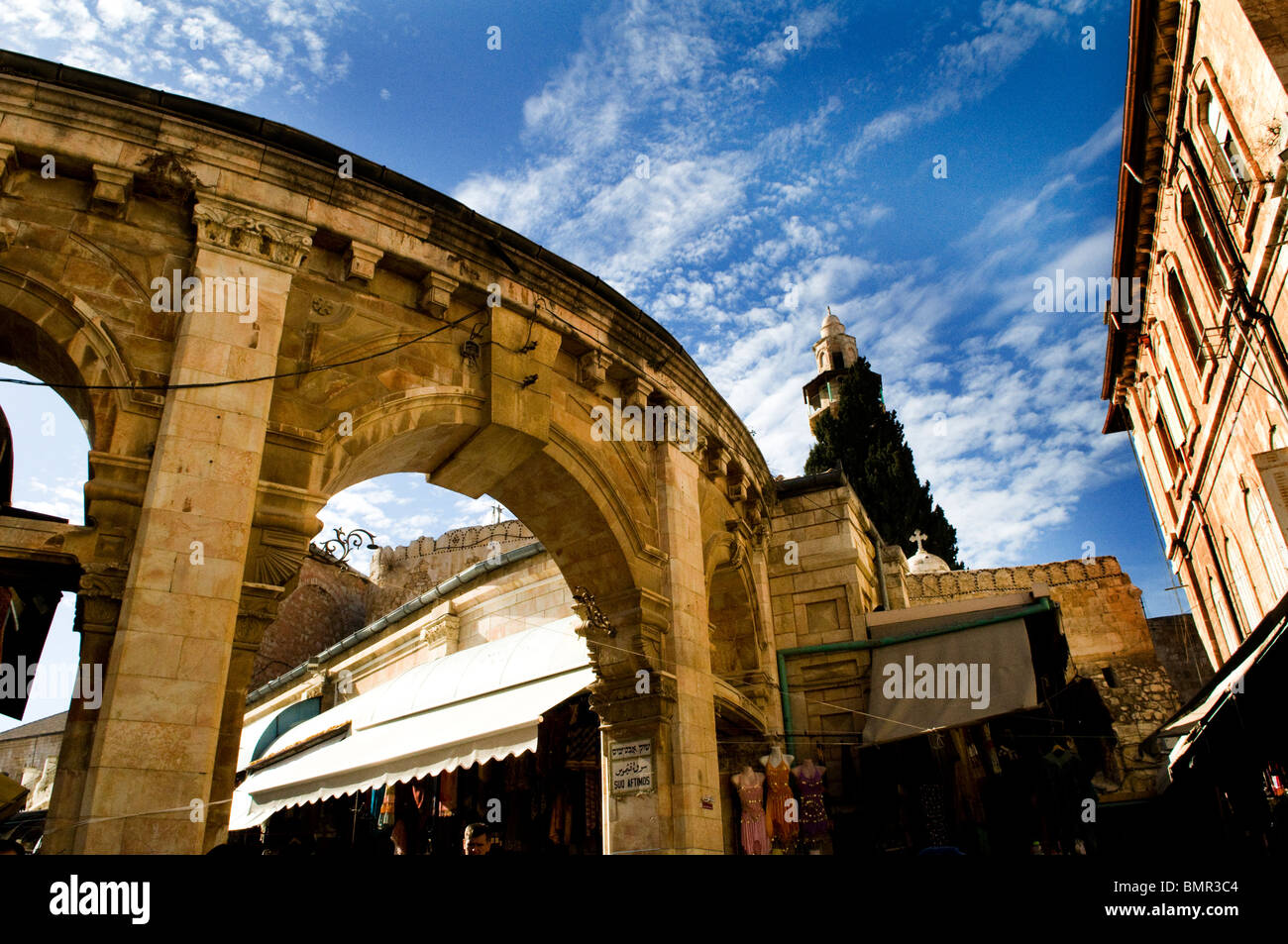 The Muristan in the Christian qt. in the old city of Jerusalem. - Stock Image