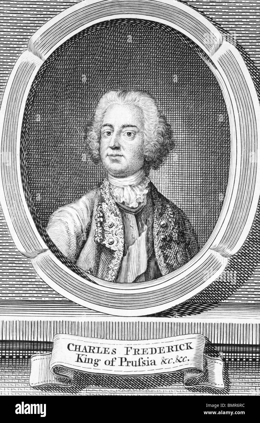 Frederick II (1712-1786) on engraving from the 1700s. King of Prussia during 1740-1786. - Stock Image