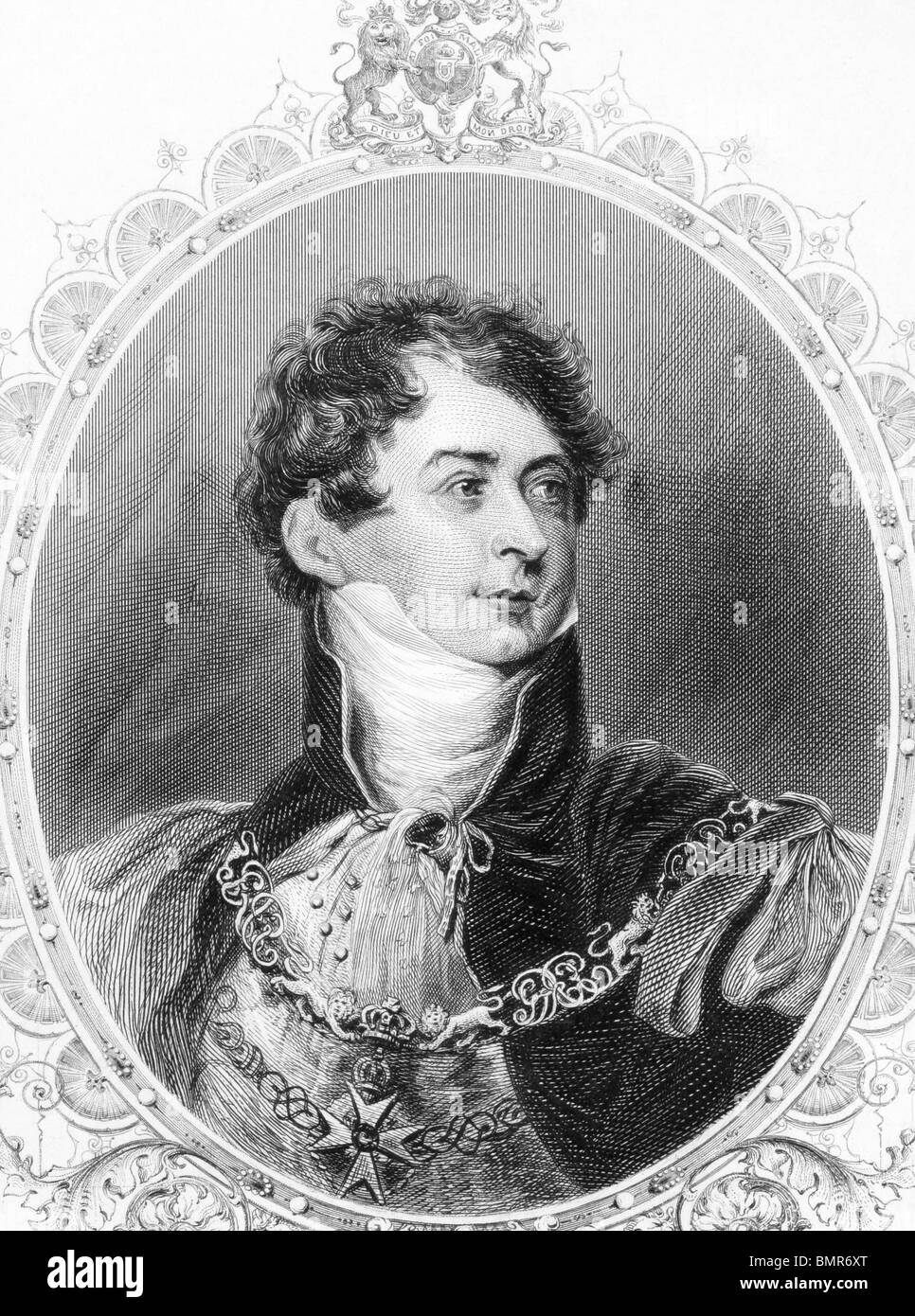 George IV (1762-1830) on engraving from the 1800s. King of Great Britain during 1820-1830. - Stock Image