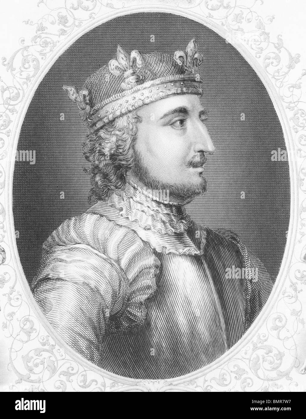 King Stephen (1096-1154) on engraving from the 1800s. Grandson of William the Conqueror and last Norman King of - Stock Image