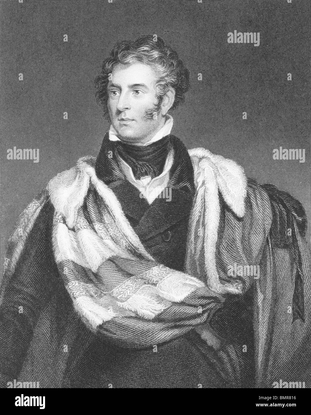 Thomas Philip de Grey, 2nd Earl de Grey (1781-1859) on engraving from the 1800s. British Tory politician and statesman. - Stock Image