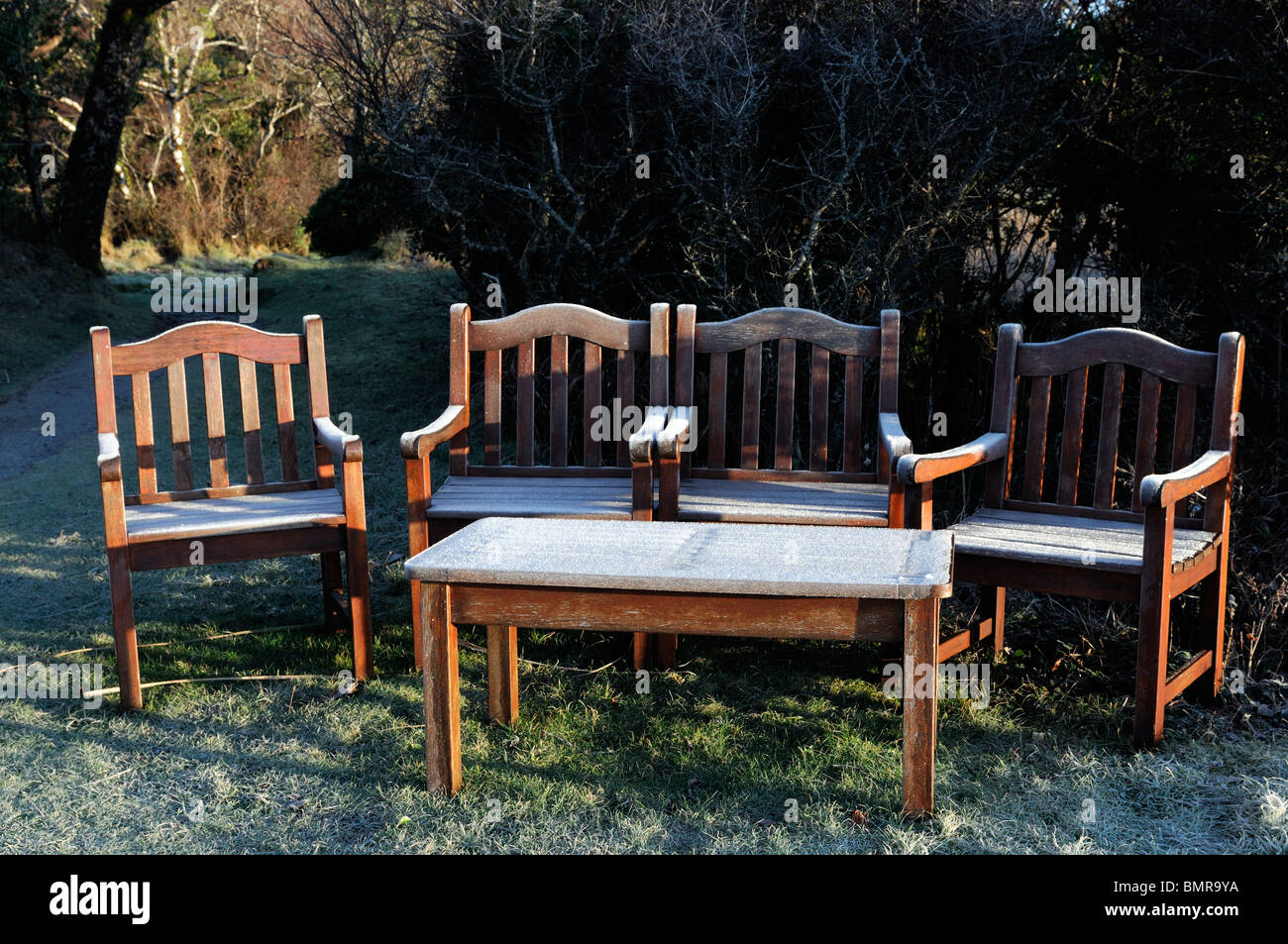 ice frost covered garden furniture wooden seat bench winter cold hedge seat chairs table seating early morning light Stock Photo