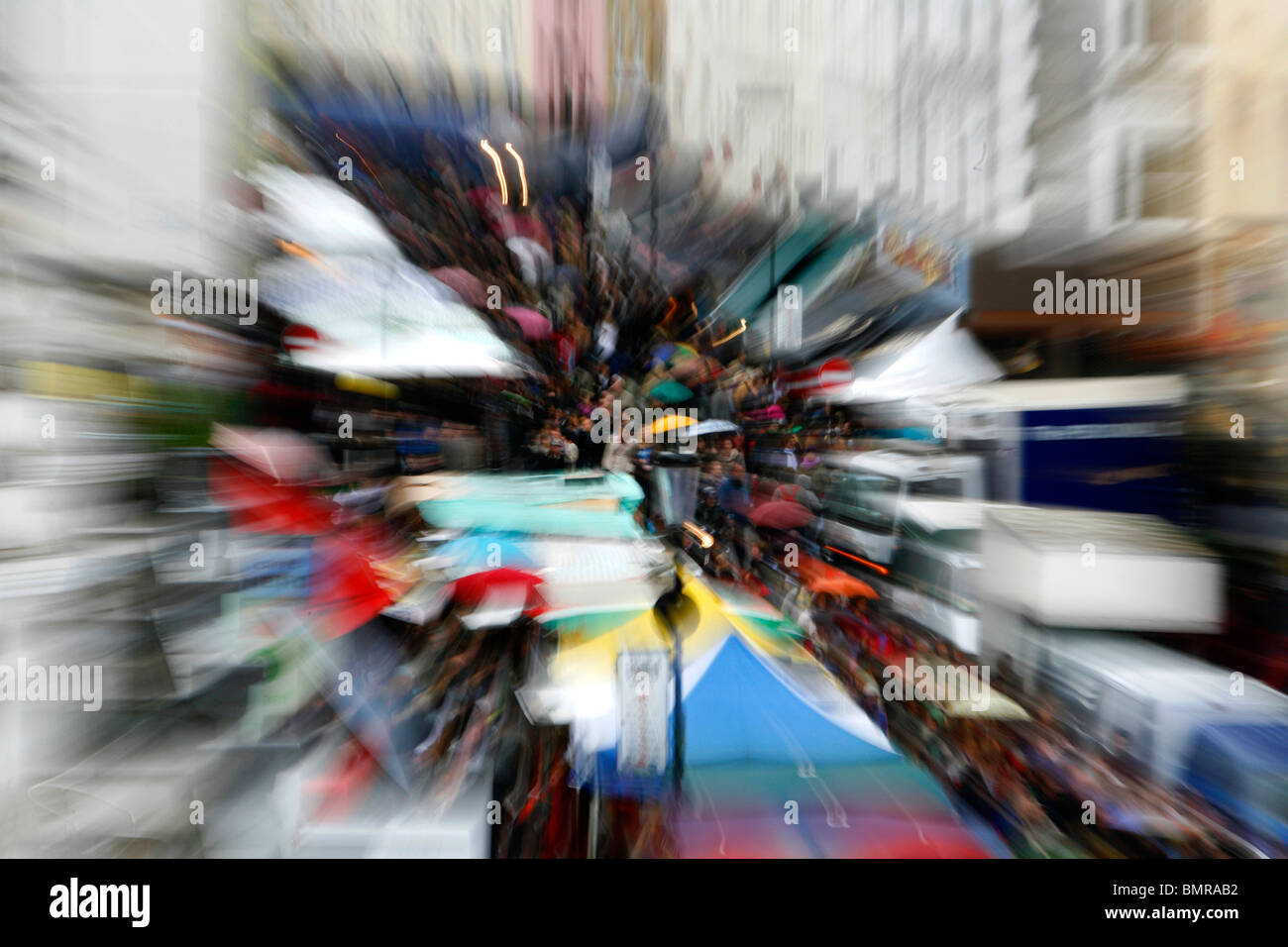 Explosion zoom shot Portobello Road Market, Notting Hill, London, UK - Stock Image
