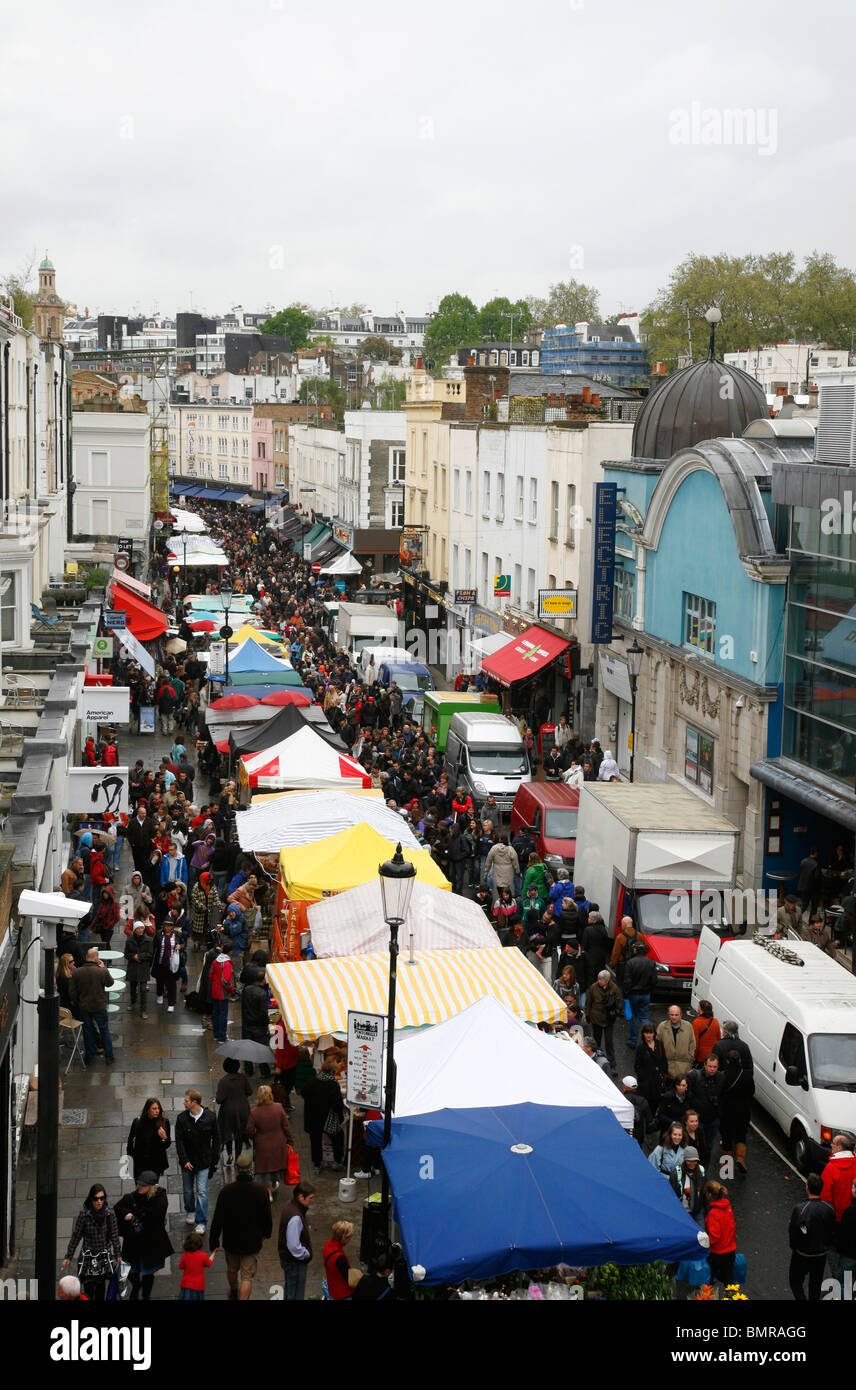 Rooftop view of Portobello Road Market, Notting Hill, London, UK. Electric Cinema can be seen on the right. - Stock Image