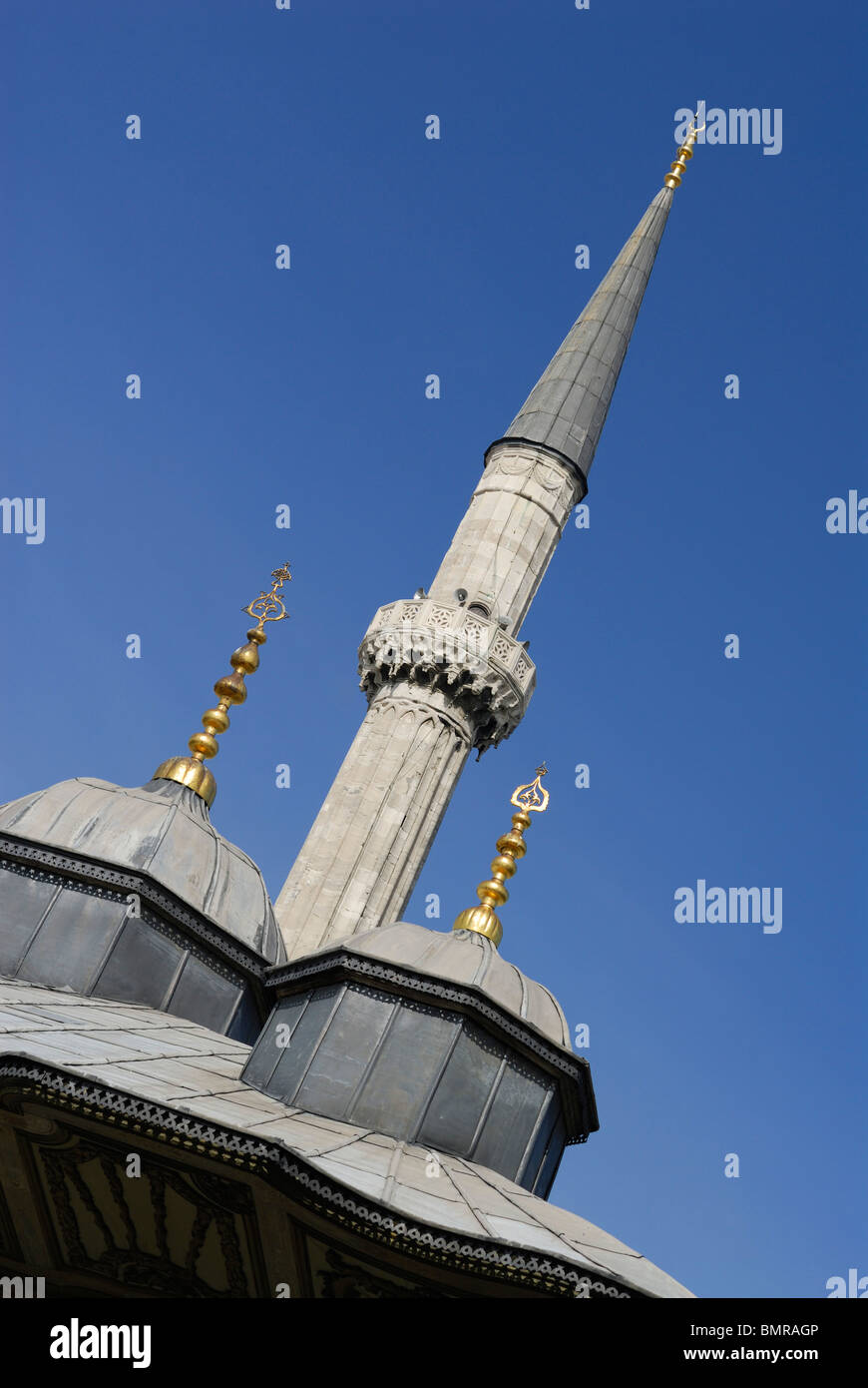 Istanbul. Turkey. Detail of fountain of Ahmet III & minaret of Aya Sofya. - Stock Image