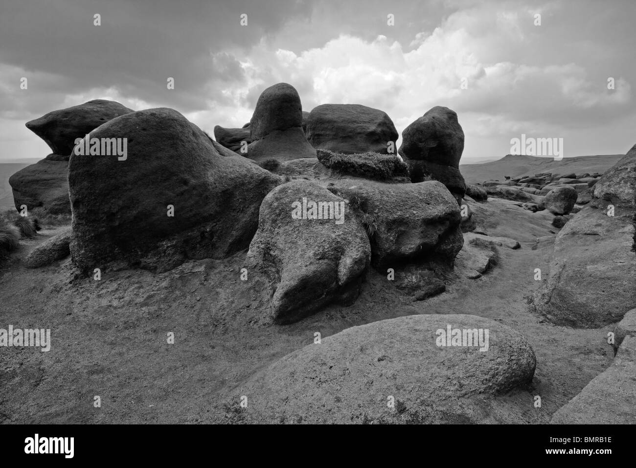 The 'Woolpacks' boulder field on the South side of Kinder Scout,Derbyshire Peak District. - Stock Image
