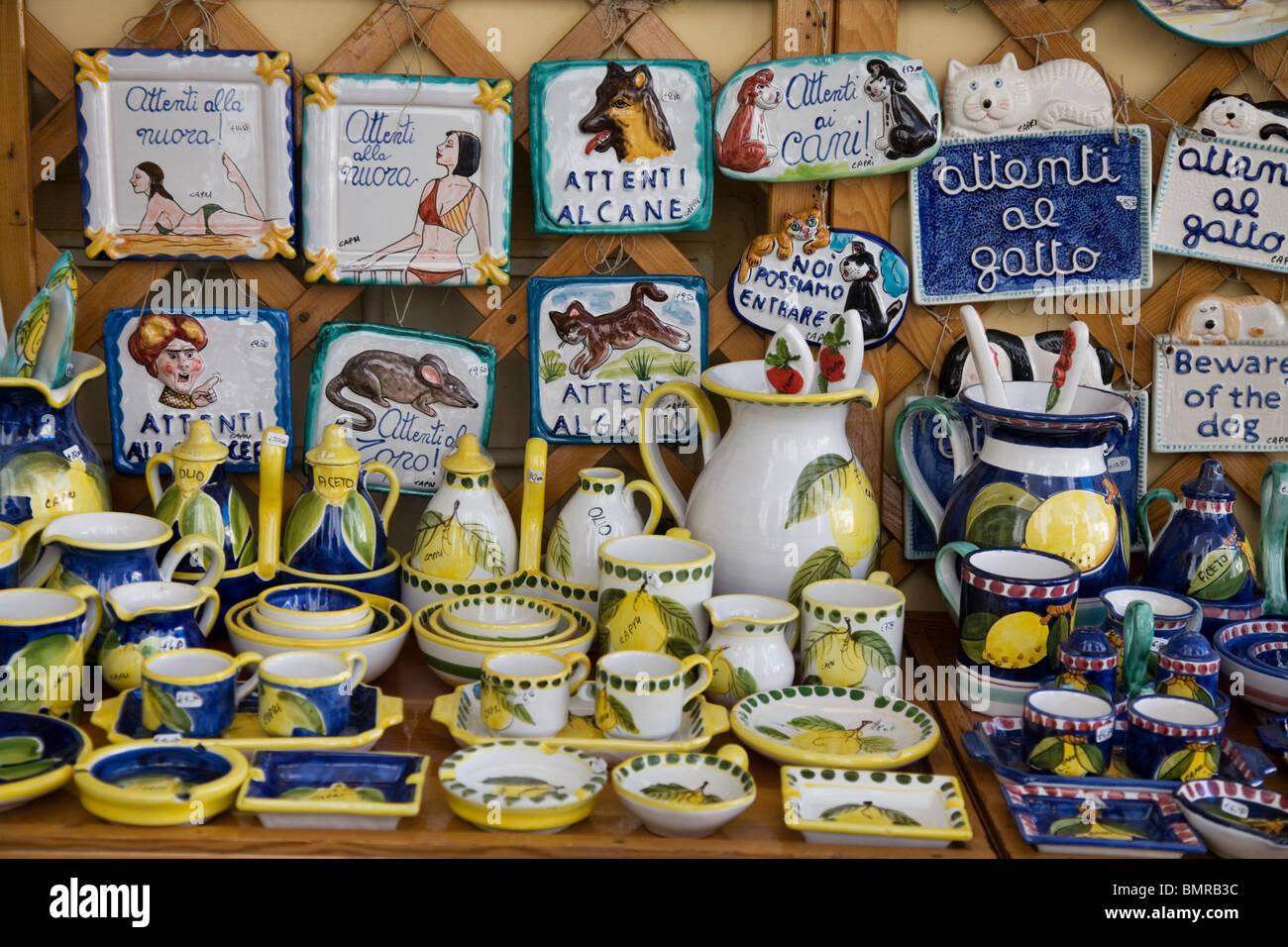 Souvenirs And Pottery Capri Italy Stock Photo 30017104