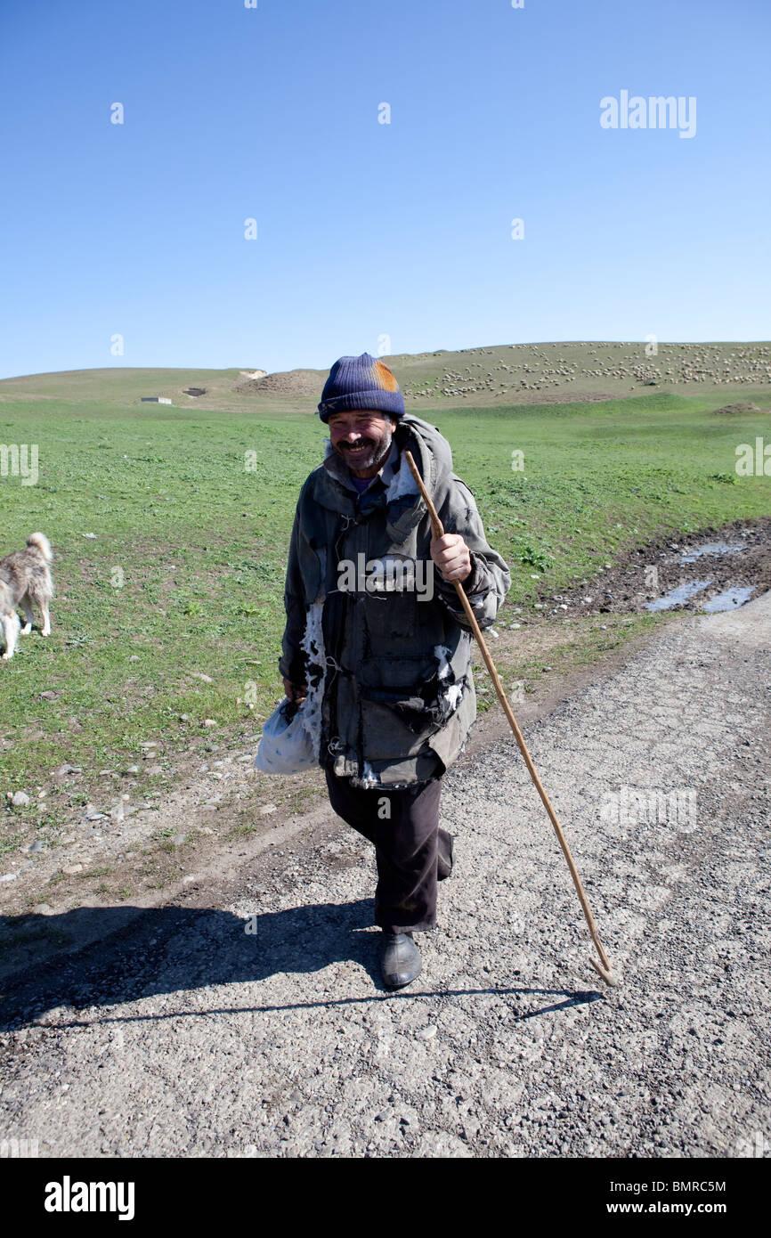 Shepherd, David Gareja monastery complex, Georgia, Azerbaijan border Stock Photo