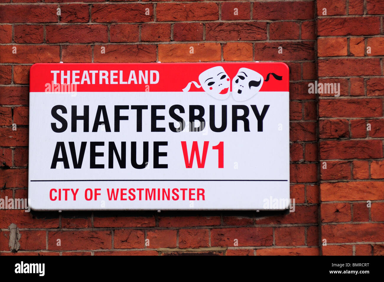 Shaftesbury Avenue theatreland street sign, London, England, UK - Stock Image