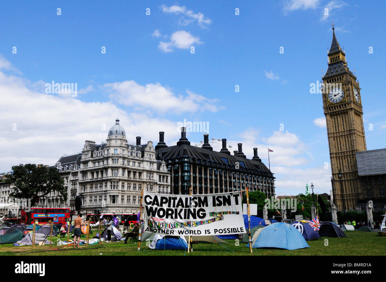 Democracy Village anti war protest, Parliament Square, Westmister, London, England, UK - Stock Image