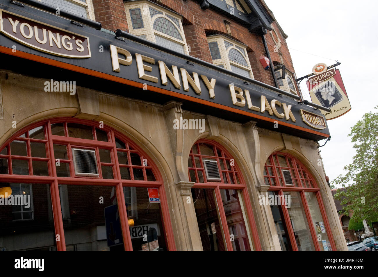 youngs brewery breweries brewer young pub british uk chain pubs public house beer sales selling drink beers license - Stock Image