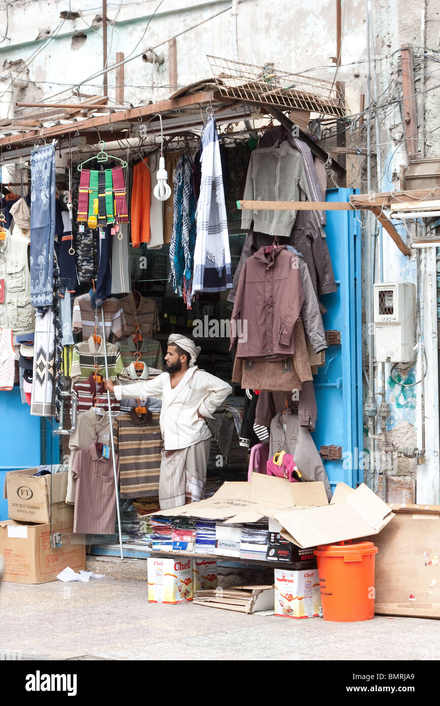 A clothing shop in Aden. - Stock Image