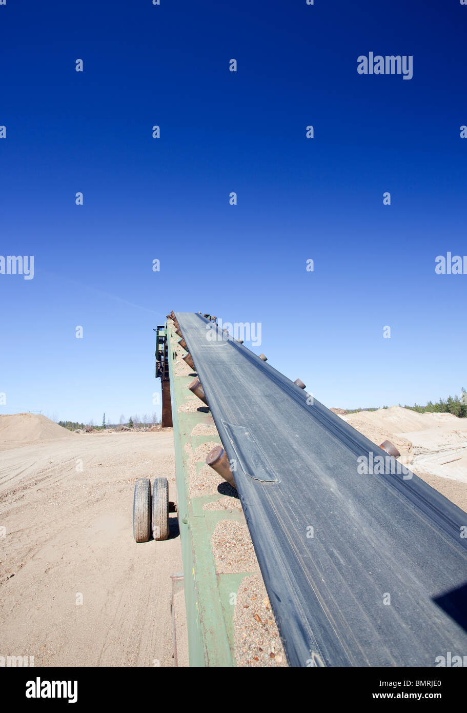 Movable conveyor belt for transporting gravel and sand on a Finnish sandpit , Finland - Stock Image